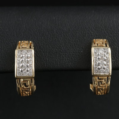18K Gold 0.60 CTW Diamond Greek Key J-Hoop Earrings