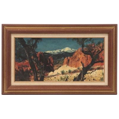 Desert Landscape Oil Painting, 1952