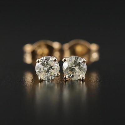 14K Gold 0.40 CTW Diamond Solitaire Earrings
