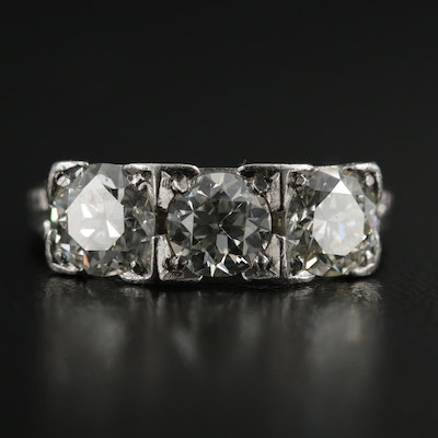 Late Art Deco Platinum 1.75 CTW Diamond Ring