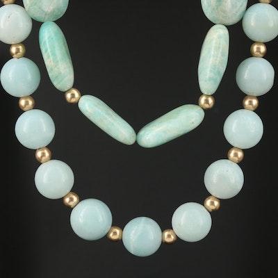 Double Strand Amazonite, Rhinestone and 10K Yellow Gold Beaded Necklace