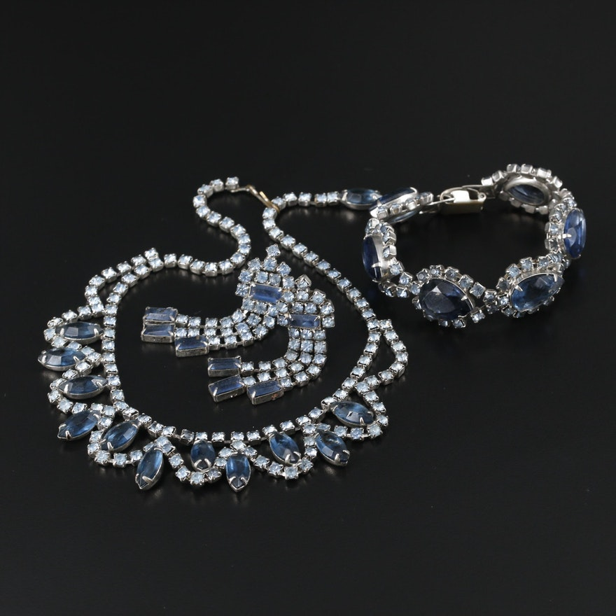 Blue Rhinestone Bib Necklace, Station Bracelet and Dangle Earrings