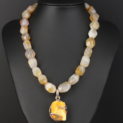 Beaded Agate and Amber Necklace With Sterling Silver Pendant