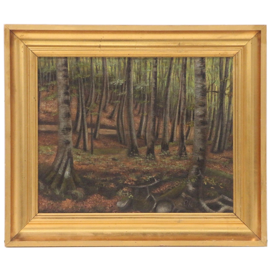 Forest Landscape Oil Painting, Early 20th Century