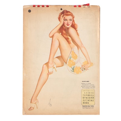 Varga Girls Pin Up Print Calendar For Esquire Magazine, 1944