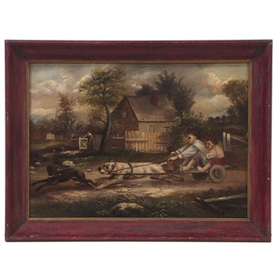 Genre Oil Painting of Children on Dog-Drawn Rickshaw
