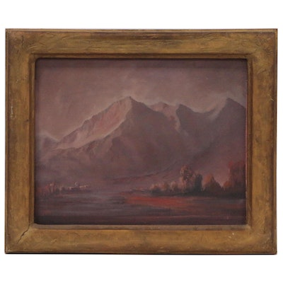 """Knox Thomas Landscape Oil Painting """"Evening in Taos"""", 1948"""