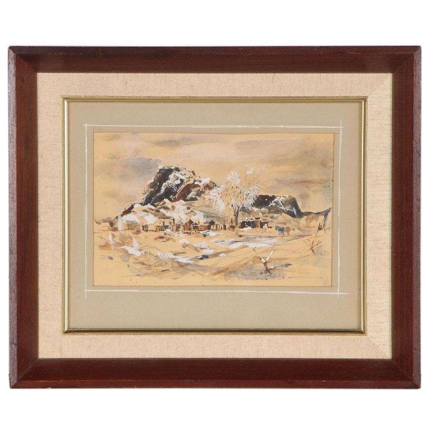 Landscape Gouache and Watercolor Painting, 1957