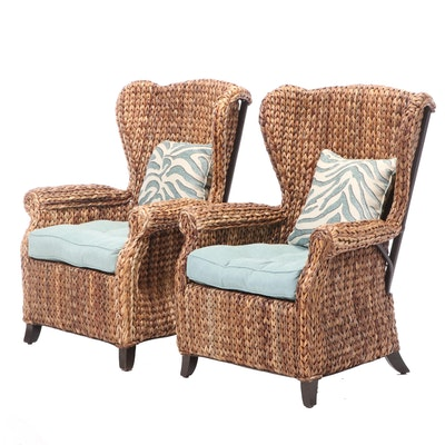 Pair of Pier 1 Imports Wicker Wingback Patio Armchairs