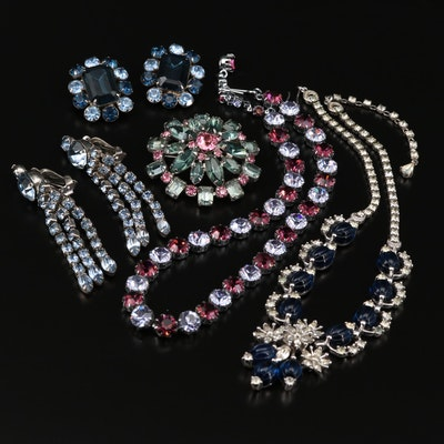 Assorted Rhinestone Jewelry Featuring Pennino Necklace