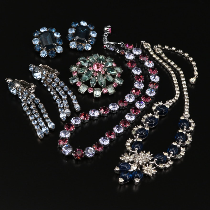 Assorted Rhinestone Jewelry Featuring Pennino Necklace