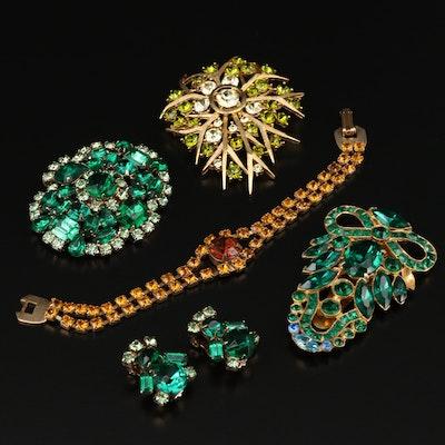 Vintage Rhinestone Jewelry Including Dress Clip