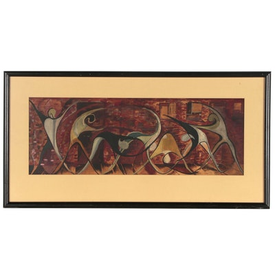 Embellished Serigraph of Abstract Dancing Figures