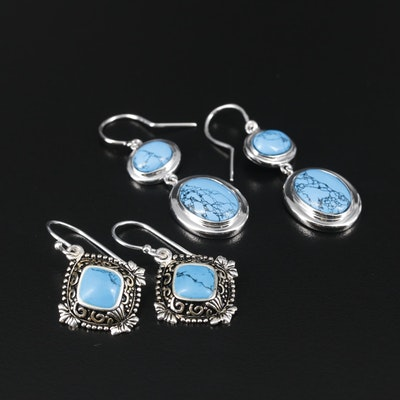 Sterling Silver Imitation Turquoise Dangle Earrings