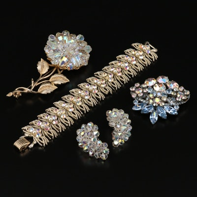 Vintage Aurora Borealis Glass Jewelry Featuring Coro