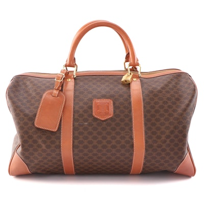 Céline Macadam Canvas and Leather Trimmed Duffel Bag