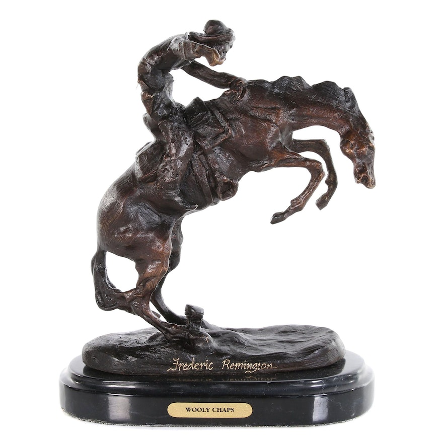 """Brass Sculpture after Frederic Remington """"Wooly Chaps"""""""