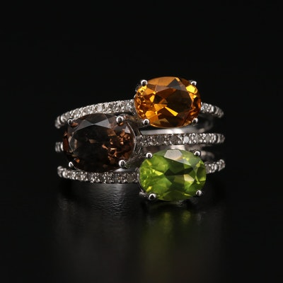 Sterling Silver Peridot, Smoky Quartz and Diamond Ring