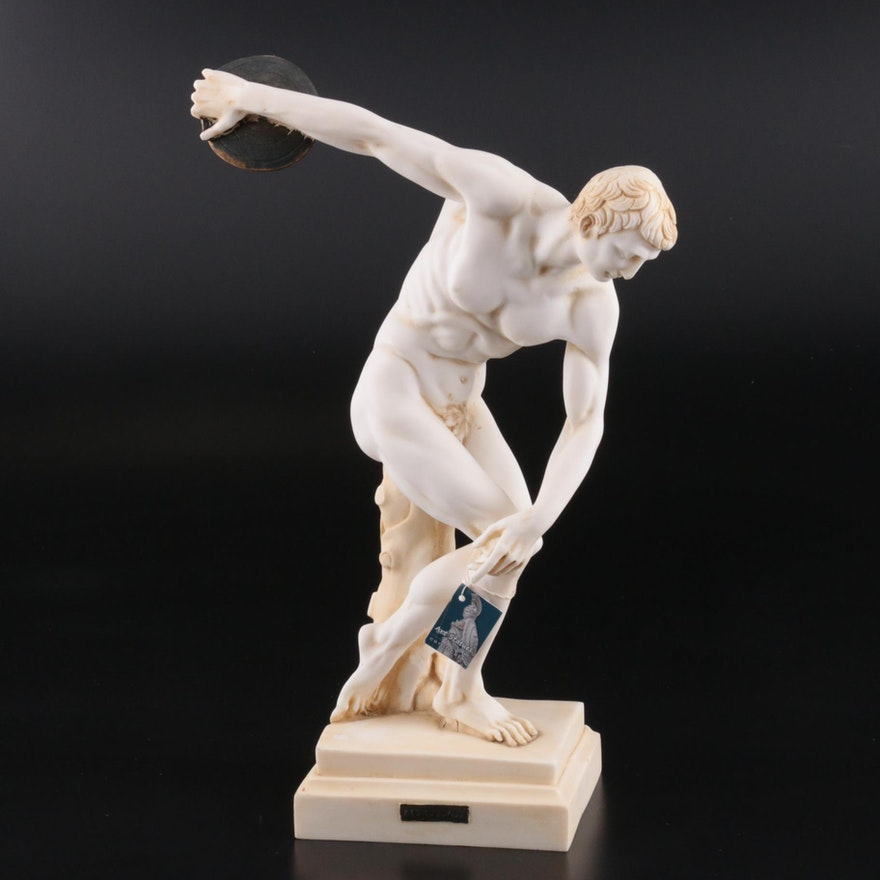 "Alabaster Greek ""Discus Thrower"" Figurine"