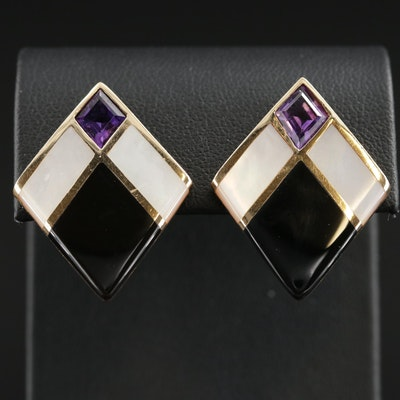 Kabana 14K Black Onyx and Mother of Pearl Inlay Earrings with Amethyst