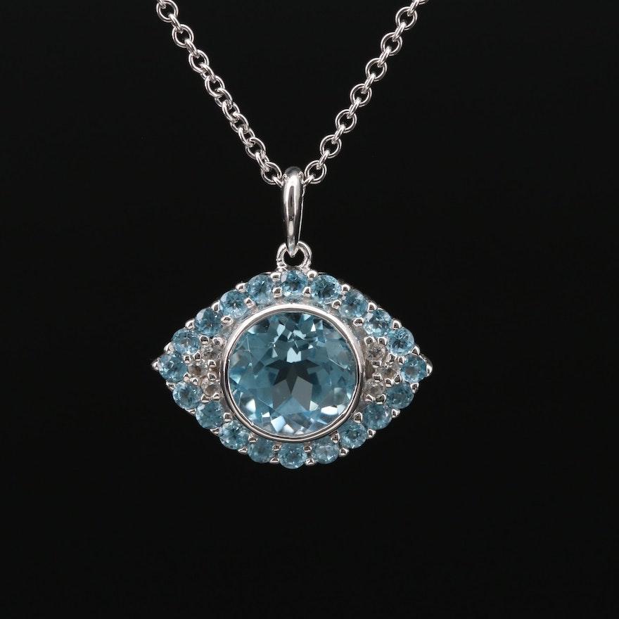 Sterling Silver Topaz Evil Eye Pendant Necklace