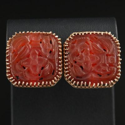 14K Gold Carved Carnelian Earrings