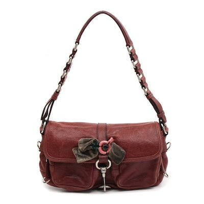 Miu Miu Burgundy Leather Flap Front Shoulder Bag with Enameled Floral Bow