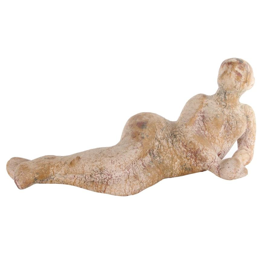 Figural Ceramic Sculpture of Reclining Female Nude