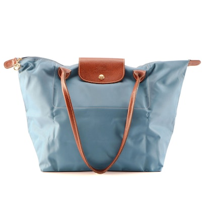Longchamp Le Pliage Shopping Tote in Ice Blue Nylon and Brown Textured Leather