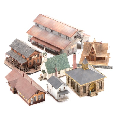 Model Train Structures Including Shops, Houses and a Church