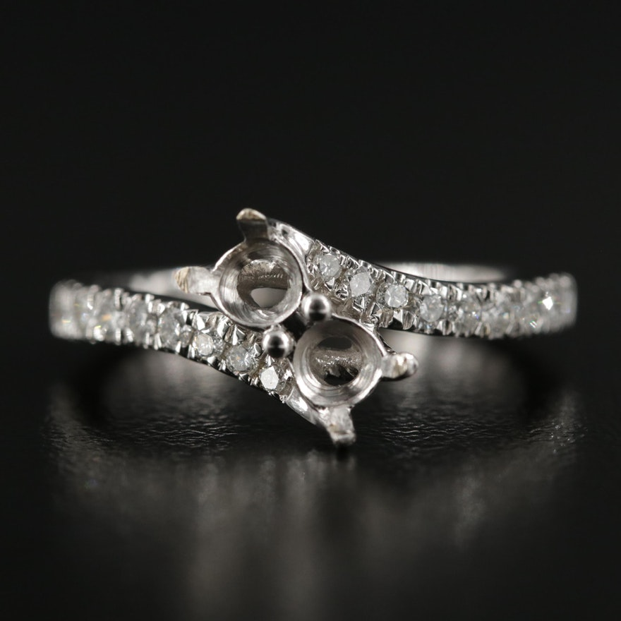 14K Gold Semi-Mount Diamond Bypass Ring