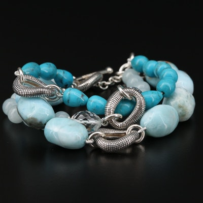 Michael Dawkins Sterling Larimar, Turquoise and Rock Crystal Quartz Bracelet