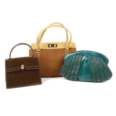 Trotters Run and J.Mas Leather, Patent Leather, and Suede Handbags, Vintage