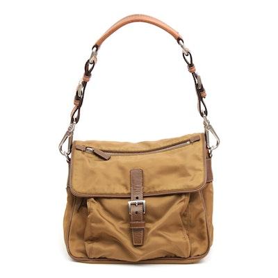 Prada Tessuto Nylon and Saffiano Leather Flap Front Shoulder Bag