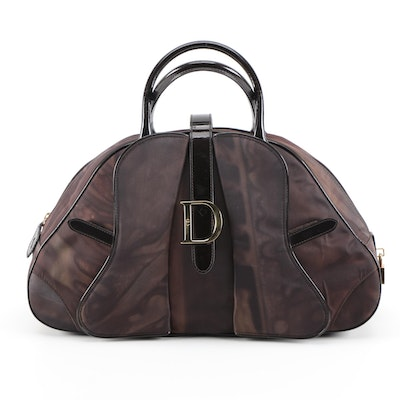 Christian Dior Large Saddle Dome Bag in Marbled Brown Nylon and Patent Leather