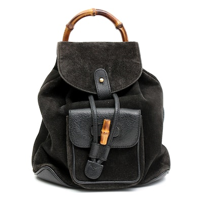 Gucci Black Suede and Grained Leather Bamboo Backpack Purse
