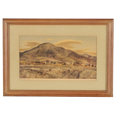 "Peter Hurd Offset Lithograph ""Rancheria'"""