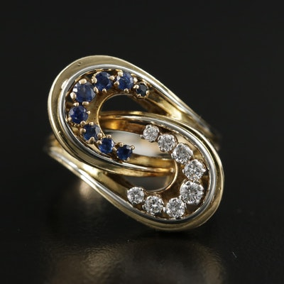 Vintage Krementz 18K Gold Diamond and Sapphire Loop Bypass Ring