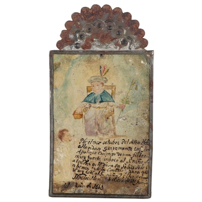 Mexican Ex-Voto Retablo Painting of Holy Infant of Atocha, Late 19th Century