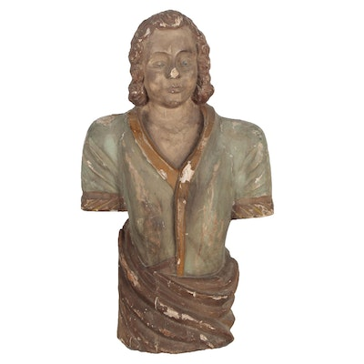 Hand-Painted Wooden Bust of Male