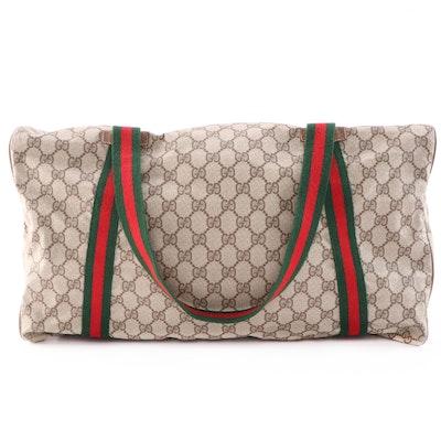 Gucci Supreme Canvas Web Stripe Duffel Bag with Accessory Pouch, Vintage