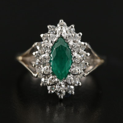Vintage 18K White Gold Synthetic Emerald and Diamond Ring