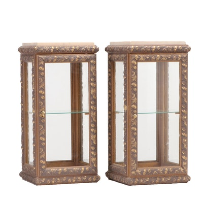 Pair of Giltwood and Gesso Vitrine Pedestals with Marble Tops