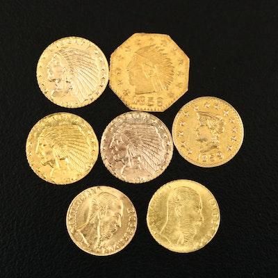 Seven Reproduction Coin Gold Tokens