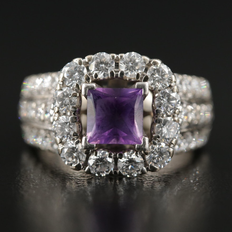18K Gold with Platinum Top, Amethyst and 2.00 CTW Diamond Ring