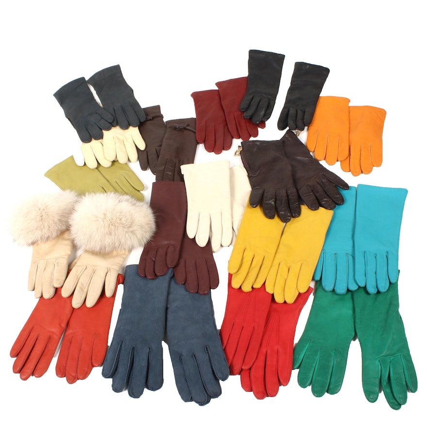 Leather and Suede Gloves Including Carole Little with Fox Fur Trim, Vintage
