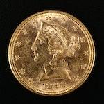 1892 Liberty Head $5 Gold Half Eagle Coin