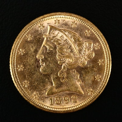 1892 Liberty Head $5 Gold Half Eagle Coin