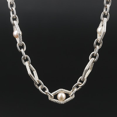 Charles Krypell Sterling Silver Pearl Necklace