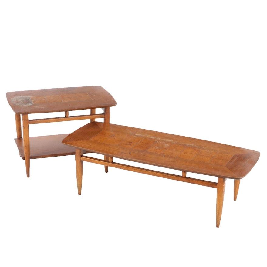 Lane Mid Century Modern Walnut Coffee and Side Table